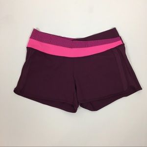 Lululemon Purple Pink Stretch Fitted Shorts Sz 12